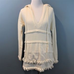Tory Burch ivory long sweater hoodie